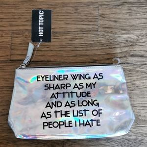 Add-on Only NWT Hot Topic Silver Make-up Bag